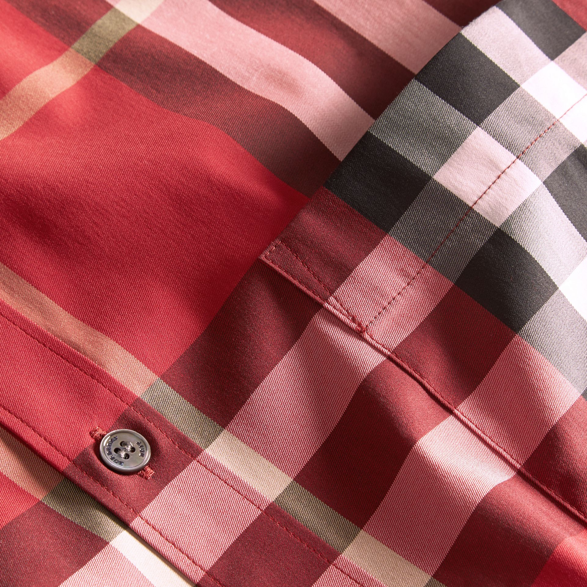 Check Stretch Cotton Shirt in Parade Red - gallery image 2