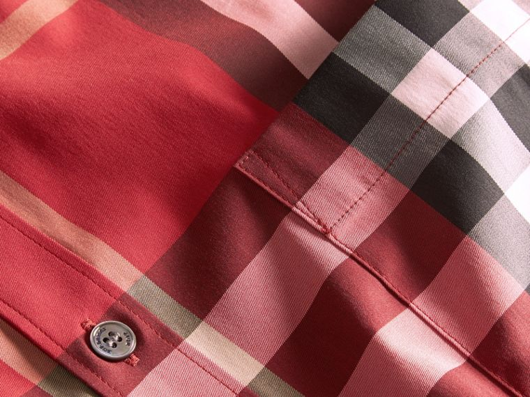 Check Stretch Cotton Shirt in Parade Red - Men | Burberry Canada - cell image 1