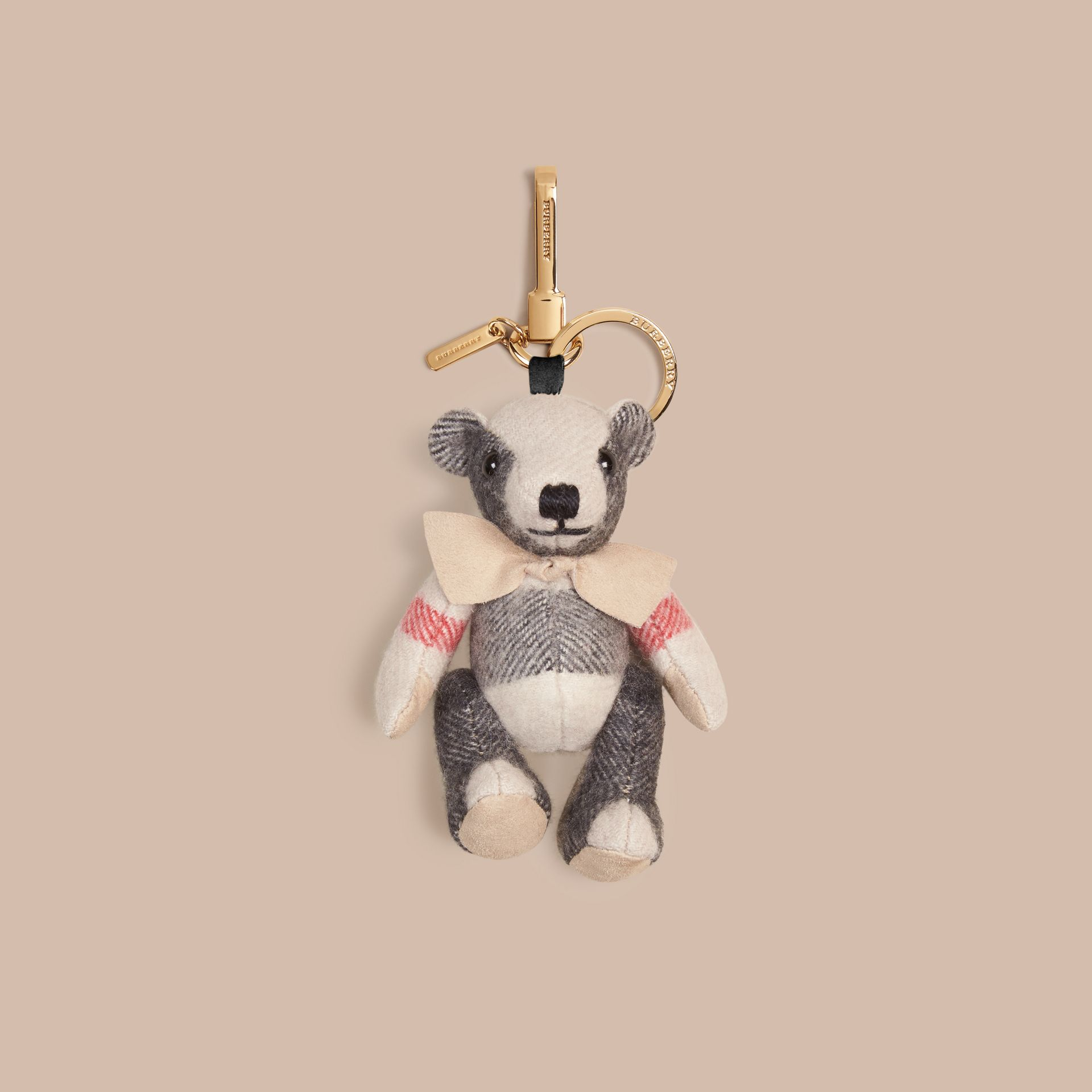 Thomas Bear Charm in Check Cashmere in Stone | Burberry - gallery image 1
