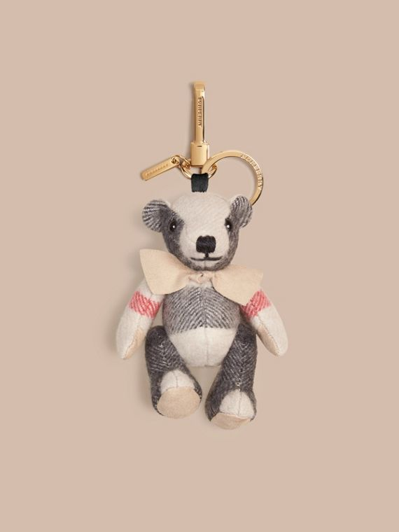 Thomas Bear Charm in Check Cashmere in Stone