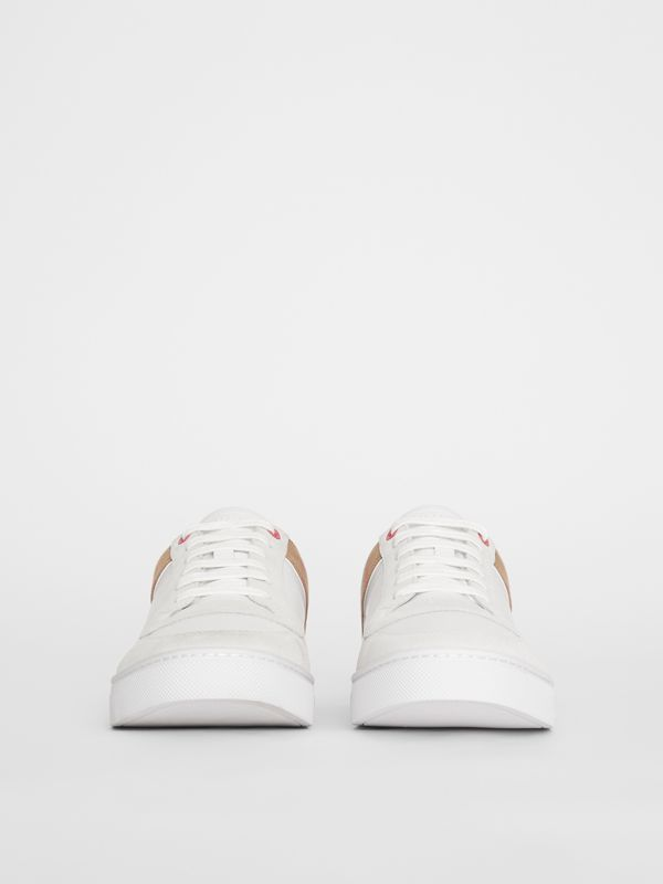 Leather and House Check Sneakers in Optic White - Men | Burberry Australia - cell image 3