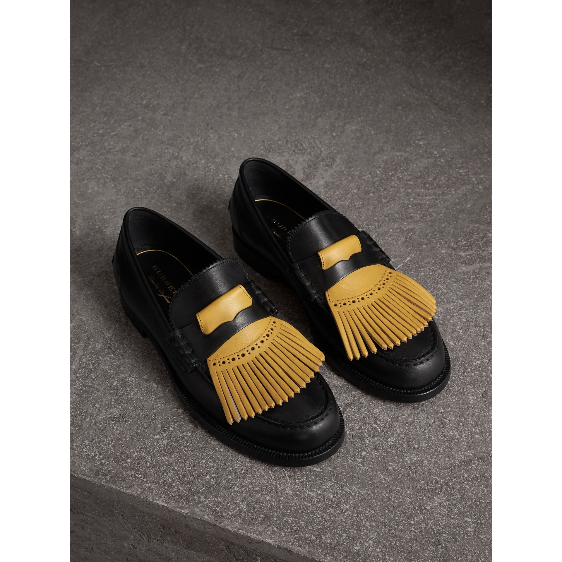 Contrast Kiltie Fringe Leather Loafers in Black/pale Saffron Yellow - Men | Burberry United States - gallery image 0