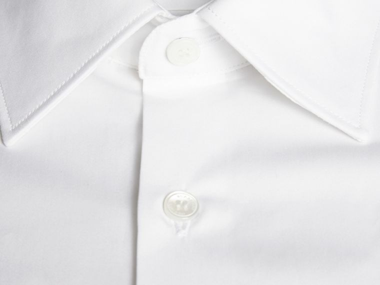 Modern Fit Cotton Poplin Shirt in White - Men | Burberry Canada - cell image 1