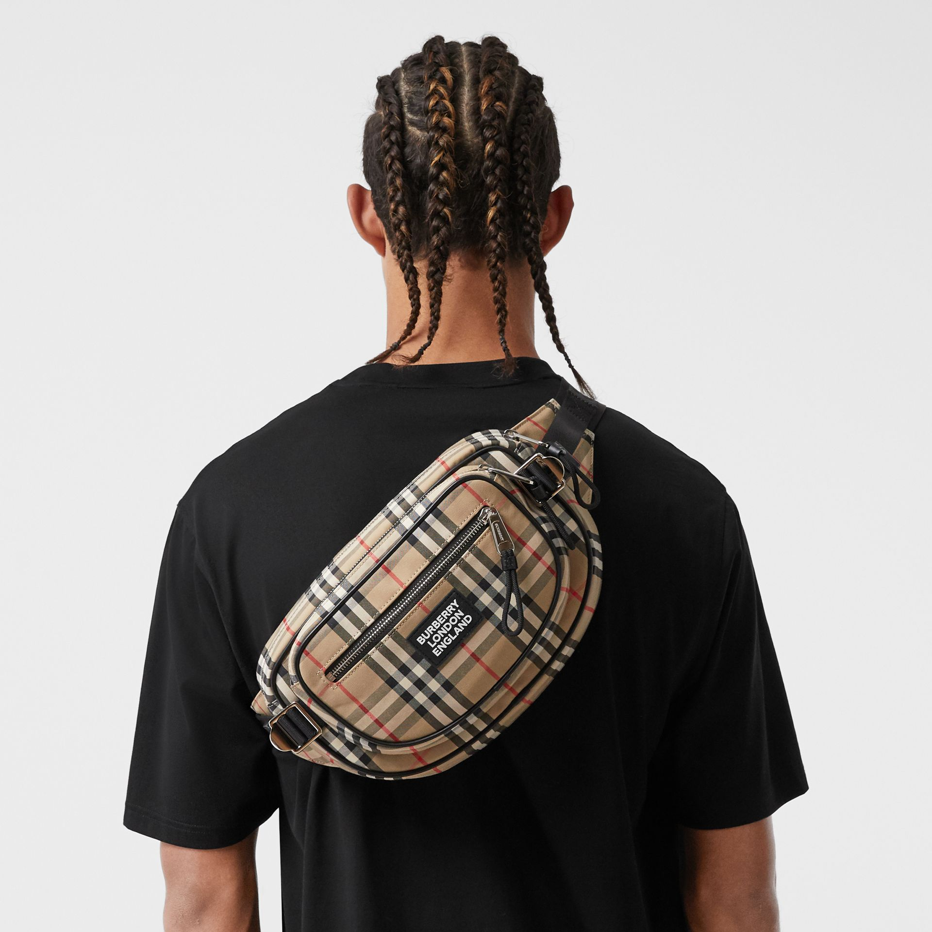 Medium Vintage Check Cotton Cannon Bum Bag in Archive Beige - Men | Burberry - gallery image 3