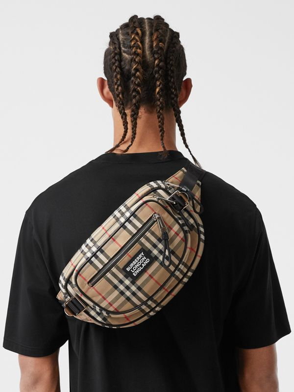 Medium Vintage Check Cotton Cannon Bum Bag in Archive Beige - Men | Burberry - cell image 3