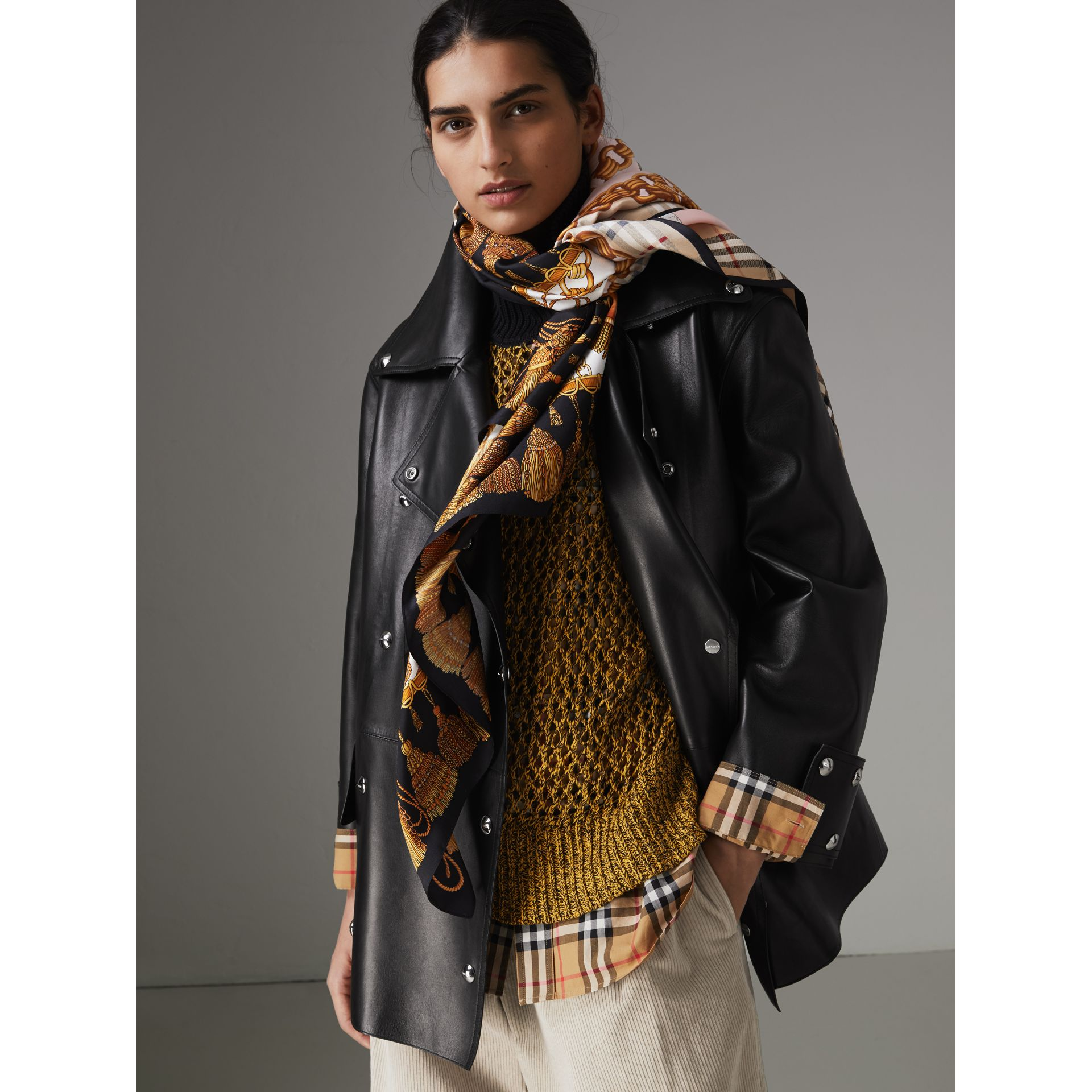 Archive Scarf Print Silk Scarf in Gold | Burberry - gallery image 4