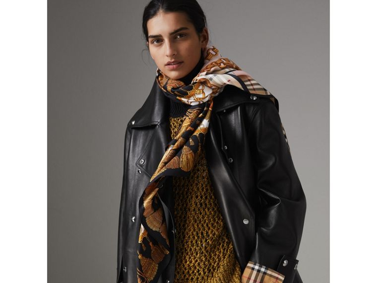 Archive Scarf Print Silk Scarf in Gold | Burberry - cell image 4