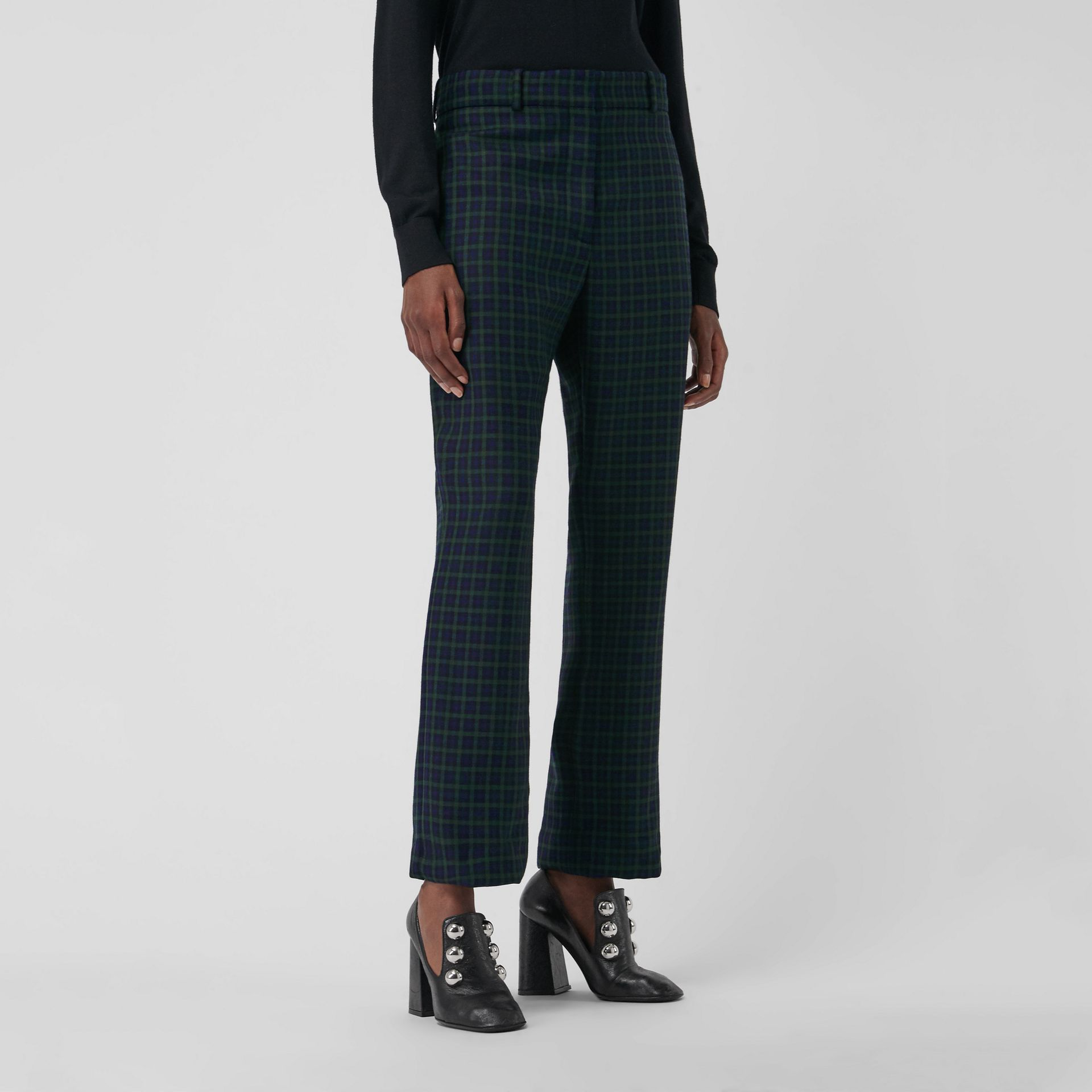 Straight Fit Check Wool Blend Tailored Trousers in Navy - Women | Burberry - gallery image 4