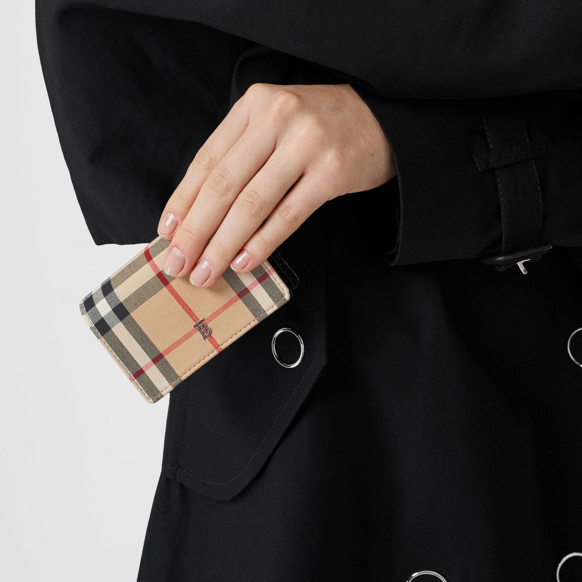 Vintage Check Card Case with Detachable Strap in Black - Women | Burberry Australia - gallery image 2