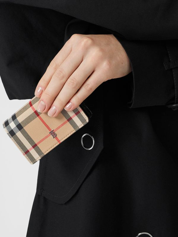 Vintage Check Card Case with Detachable Strap in Black - Women | Burberry - cell image 2