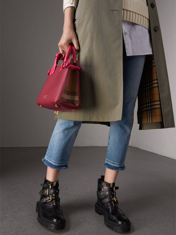 The Small Banner in Two-tone Leather in Berry Pink - Women | Burberry - cell image 3