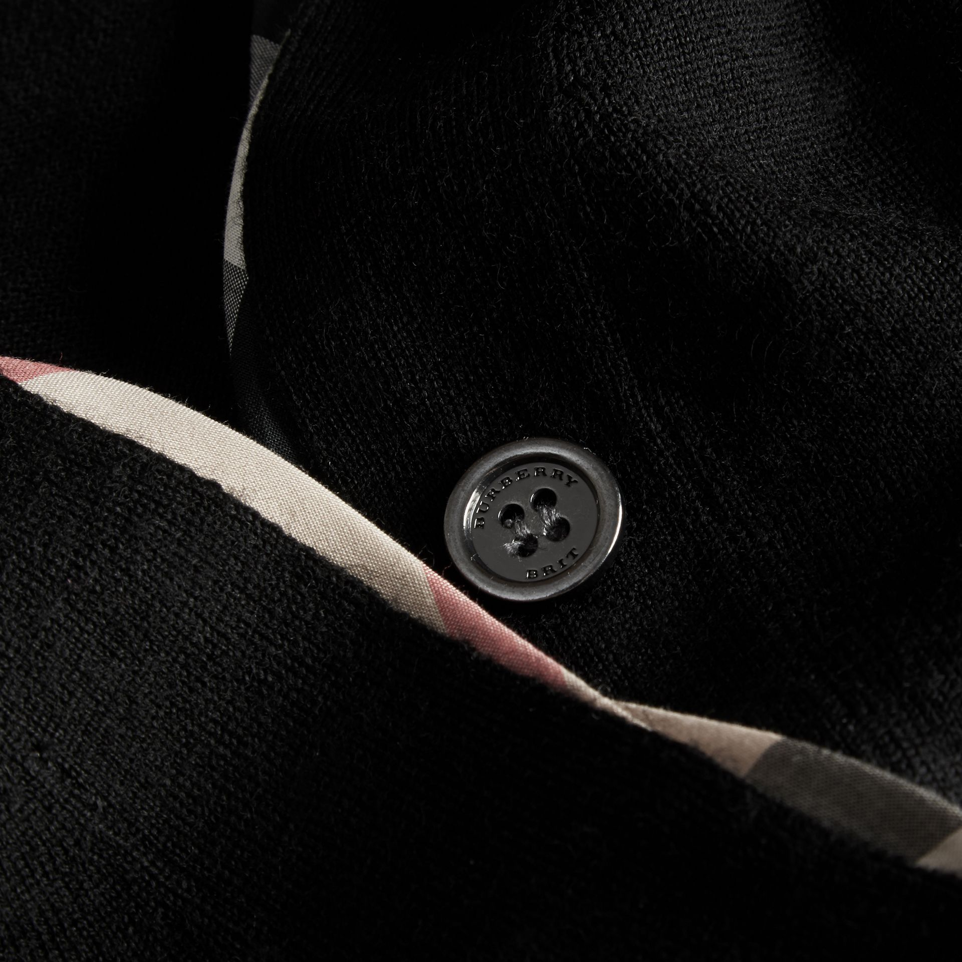 Check Placket Wool Cardigan Black - gallery image 2