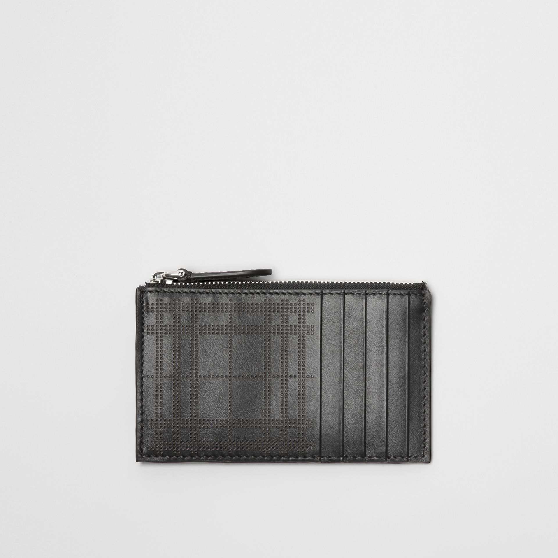 Perforated Check Leather Zip Card Case in Black - Men | Burberry - gallery image 0