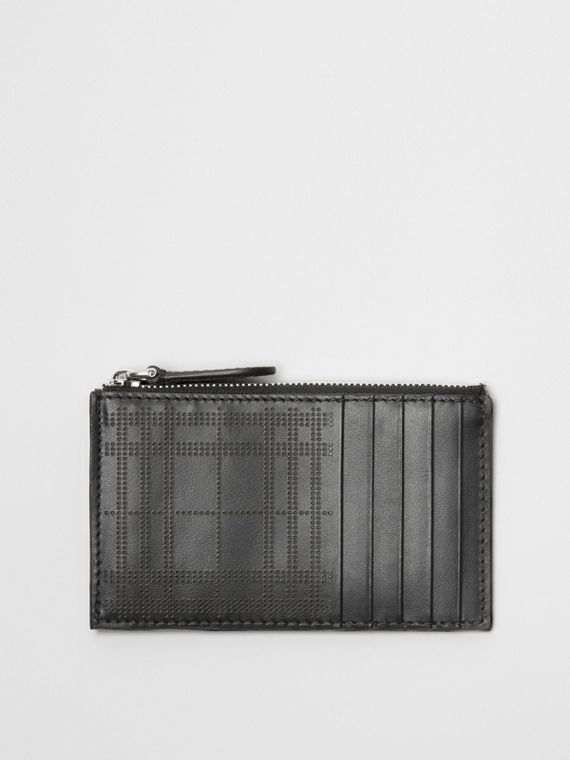 Perforated Check Leather Zip Card Case in Black