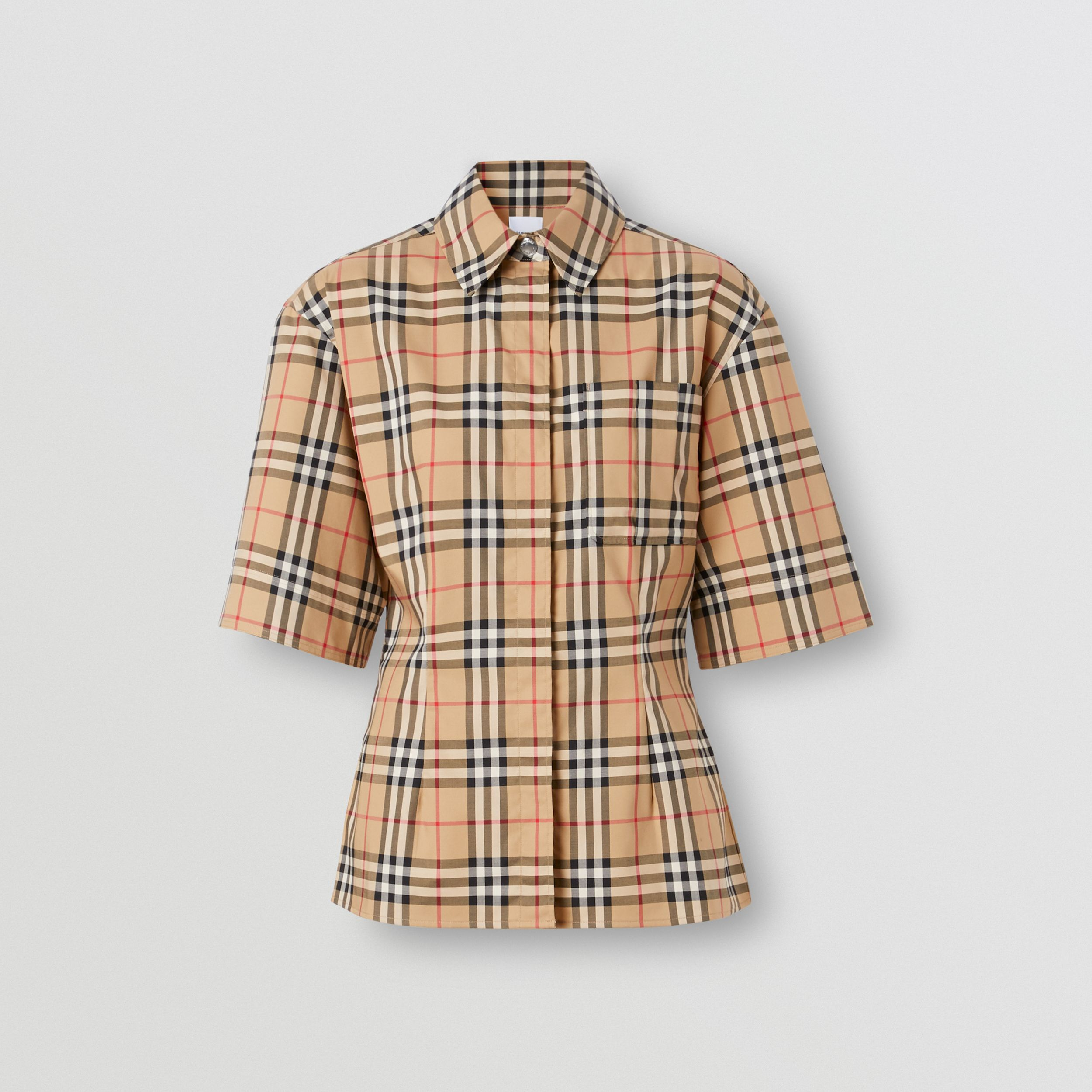 Short-sleeve Vintage Check Stretch Cotton Shirt in Archive Beige - Women | Burberry Australia - 4