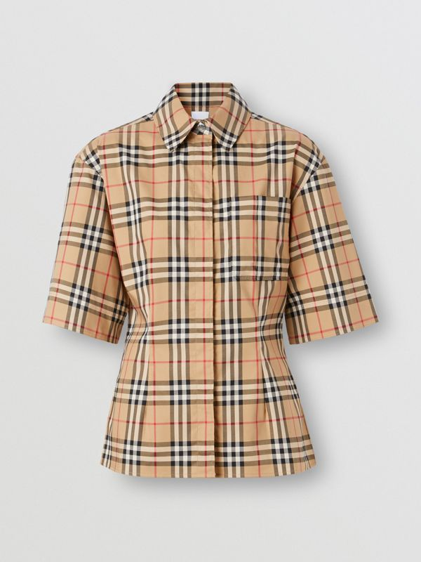 Short-sleeve Vintage Check Stretch Cotton Shirt in Archive Beige - Women | Burberry United Kingdom - cell image 3