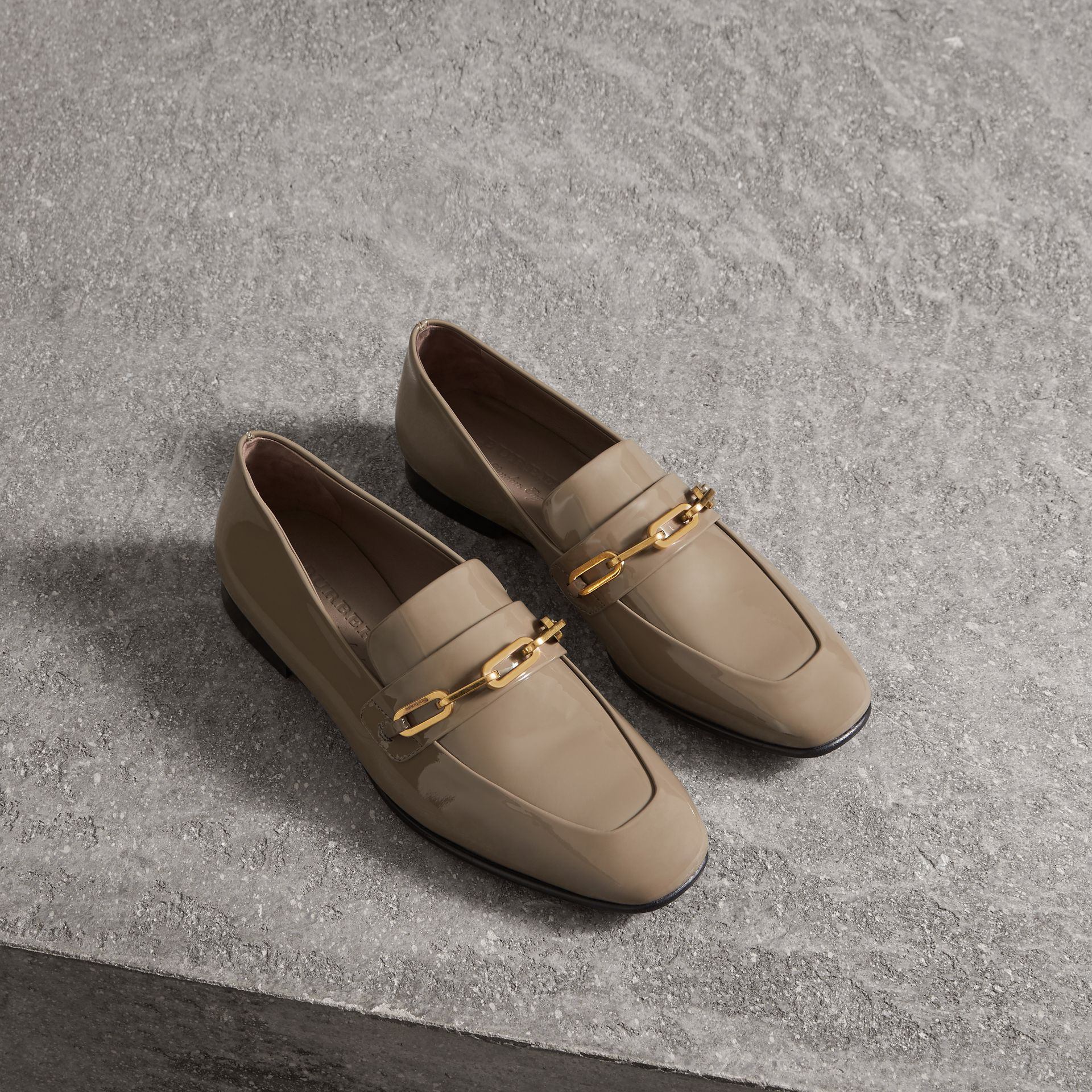 Link Detail Patent Leather Loafers in Taupe Grey - Women | Burberry Hong Kong - gallery image 0
