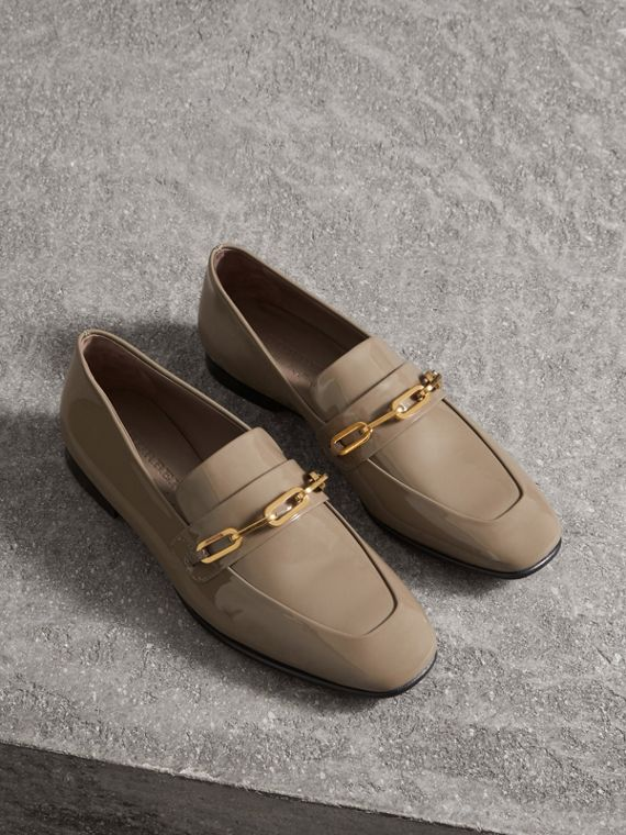 Link Detail Patent Leather Loafers in Taupe Grey