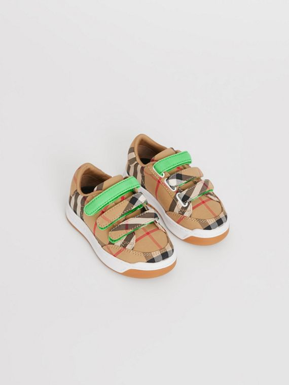 Vintage Check Sneakers in Antique Yellow/neon Green