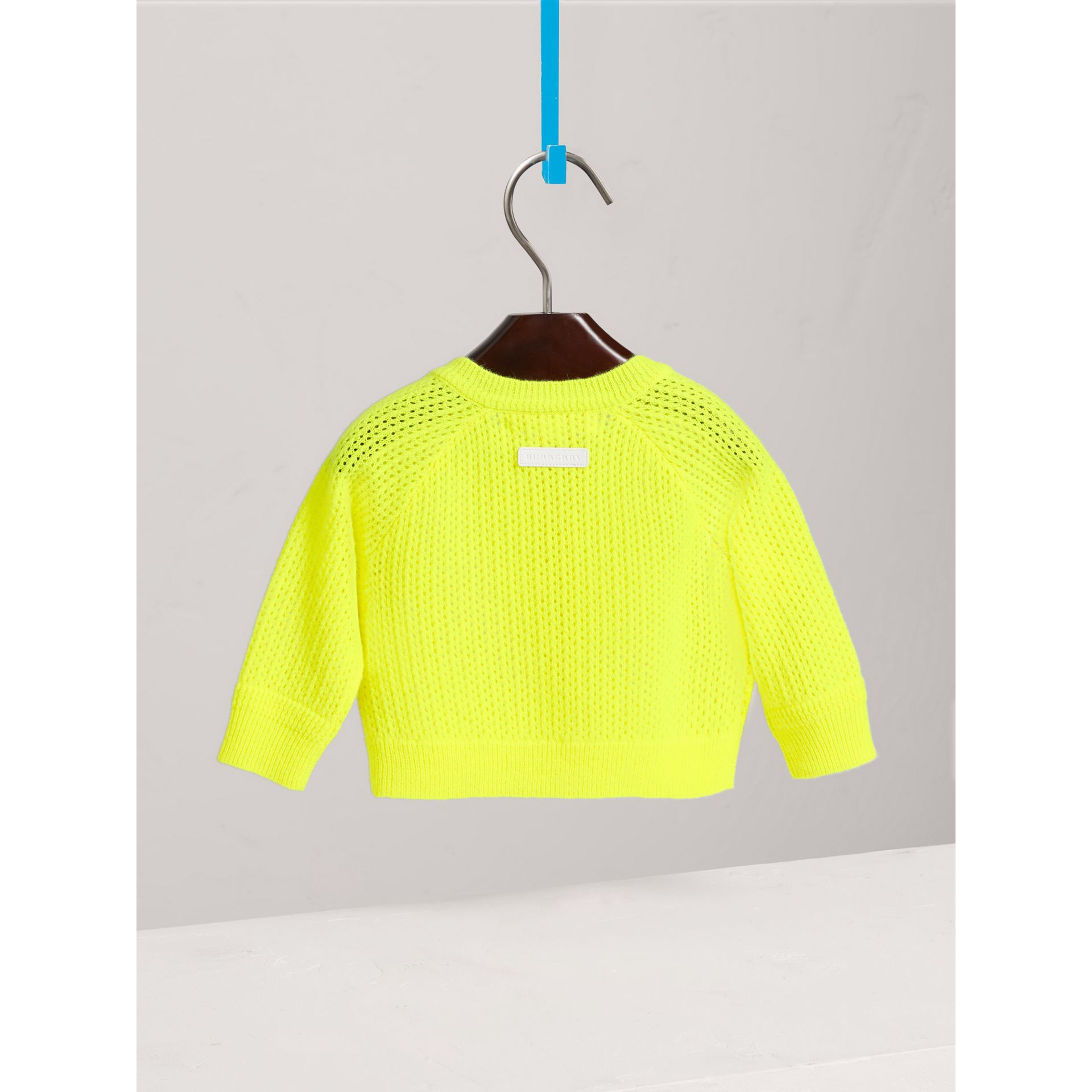 Open-stitch Knitted Cashmere Cardigan in Neon Yellow | Burberry - gallery image 3