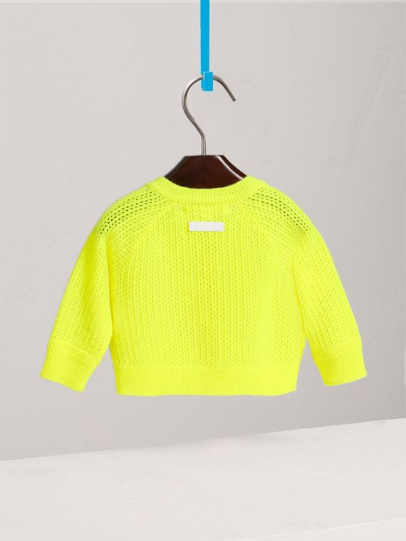 Open-stitch Knitted Cashmere Cardigan in Neon Yellow | Burberry - cell image 3