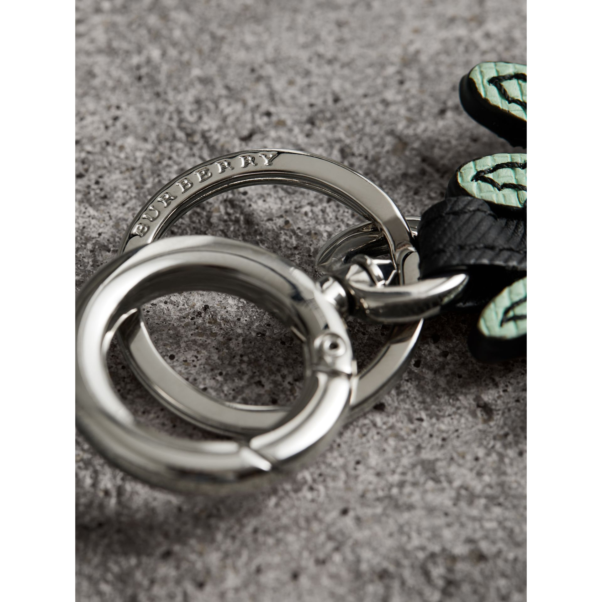 Creature Motif Leather Trim Key Ring in Light Mint - Men | Burberry - gallery image 1