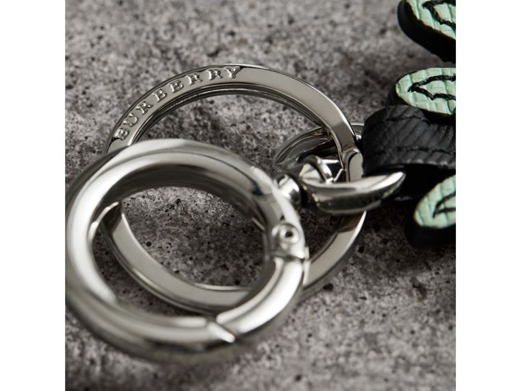 Creature Motif Leather Trim Key Ring in Light Mint | Burberry - cell image 1