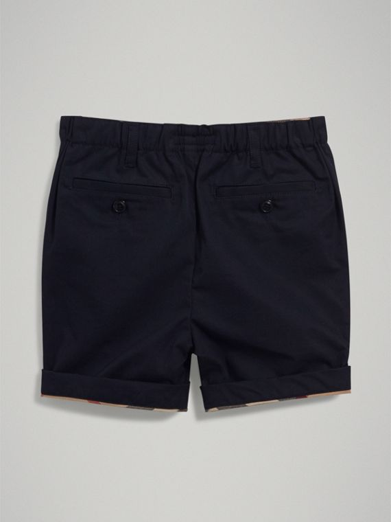 Check Detail Cotton Chino Shorts in Ink - Boy | Burberry - cell image 3