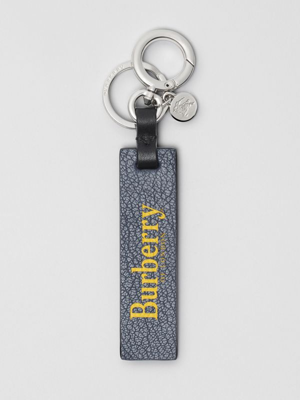 Logo Print Leather Key Ring in Storm Blue/antique Green - Men | Burberry - cell image 2