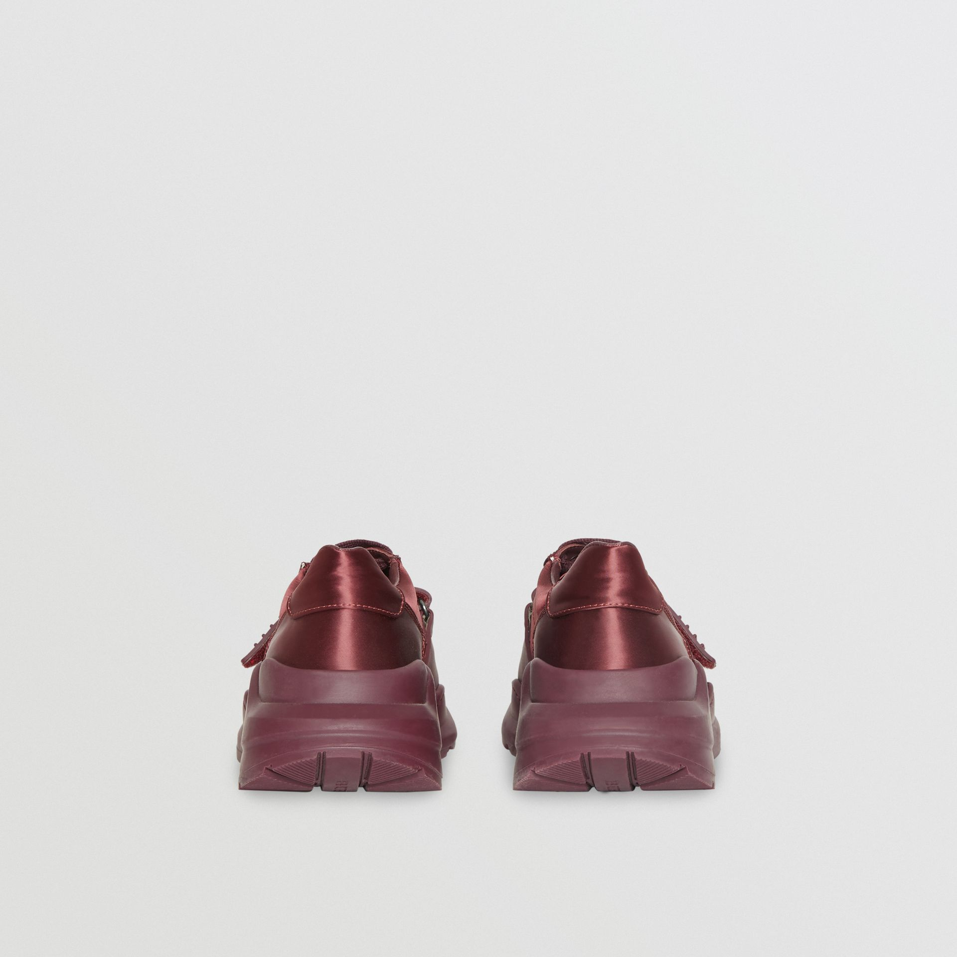 Satin Sneakers in Claret - Women | Burberry - gallery image 4