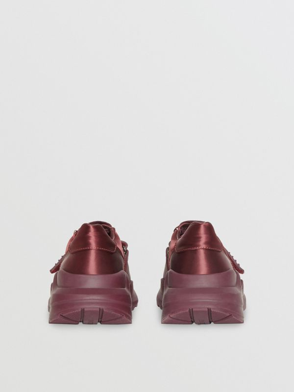 Satin Sneakers in Claret - Women | Burberry - cell image 3