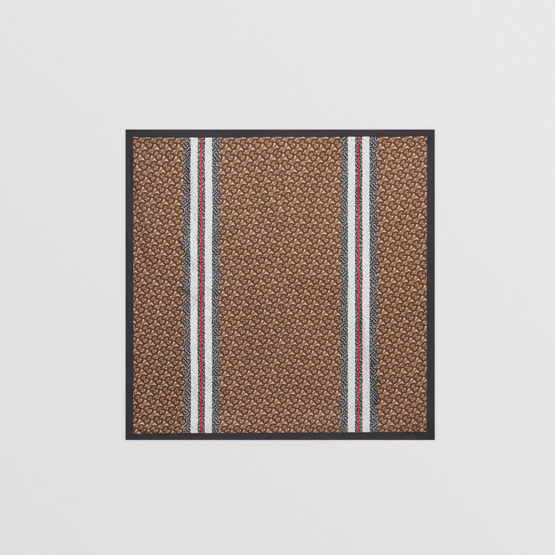 Monogram Stripe Print Silk Square Scarf in Bridle Brown | Burberry - gallery image 0