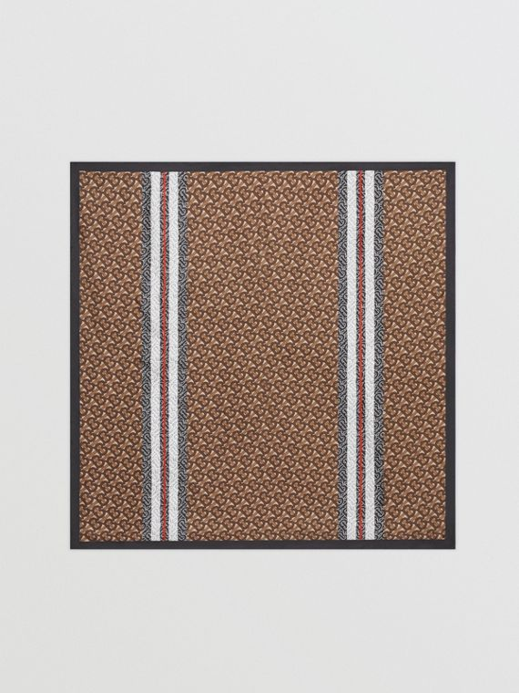 Monogram Stripe Print Silk Square Scarf in Bridle Brown