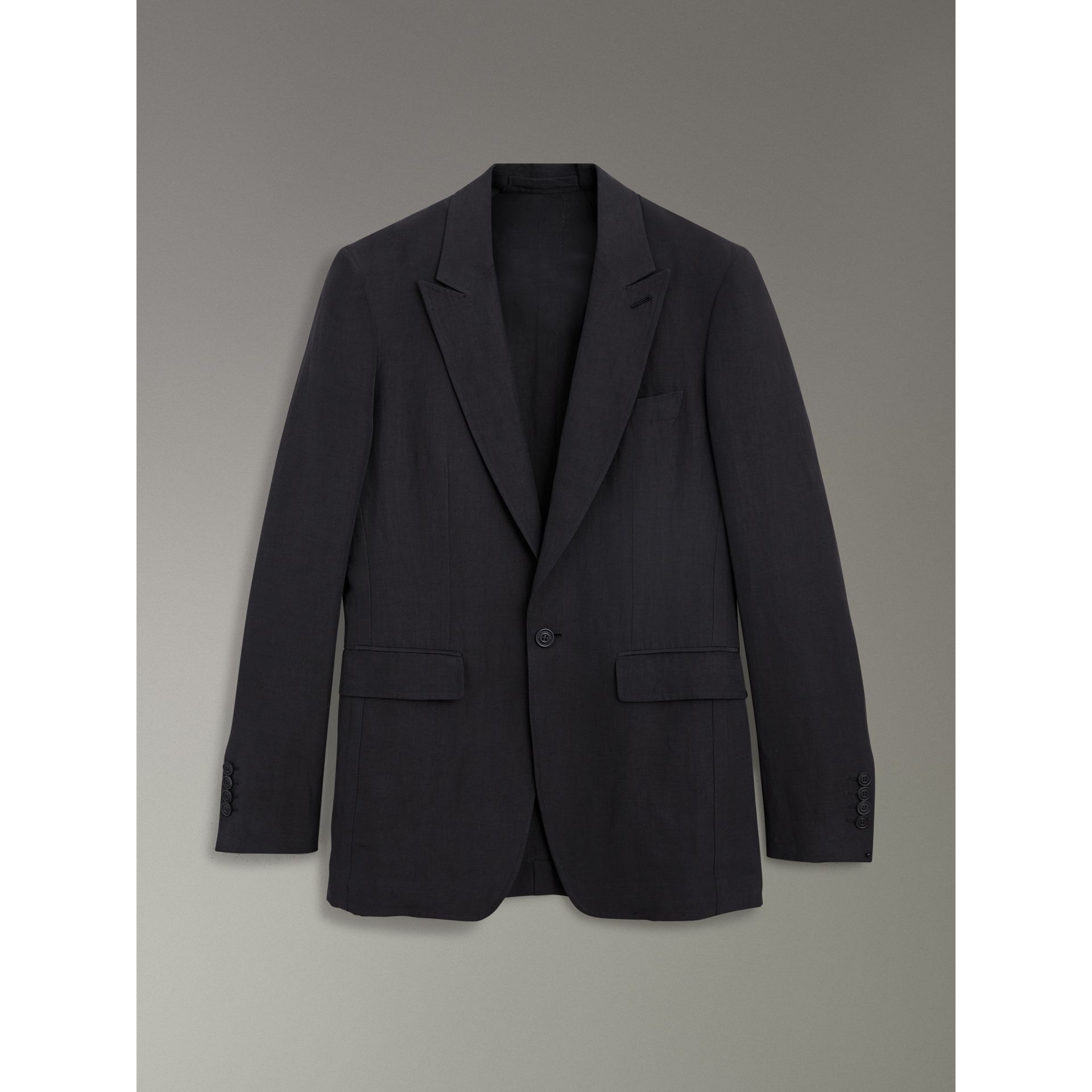 Slim Fit Linen Silk Evening Jacket in Black - Men | Burberry United States - gallery image 3