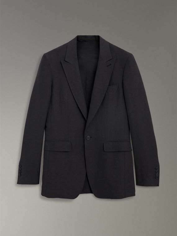 Slim Fit Linen Silk Evening Jacket in Black - Men | Burberry Australia - cell image 3
