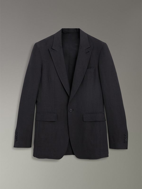 Slim Fit Linen Silk Evening Jacket in Black - Men | Burberry United States - cell image 3