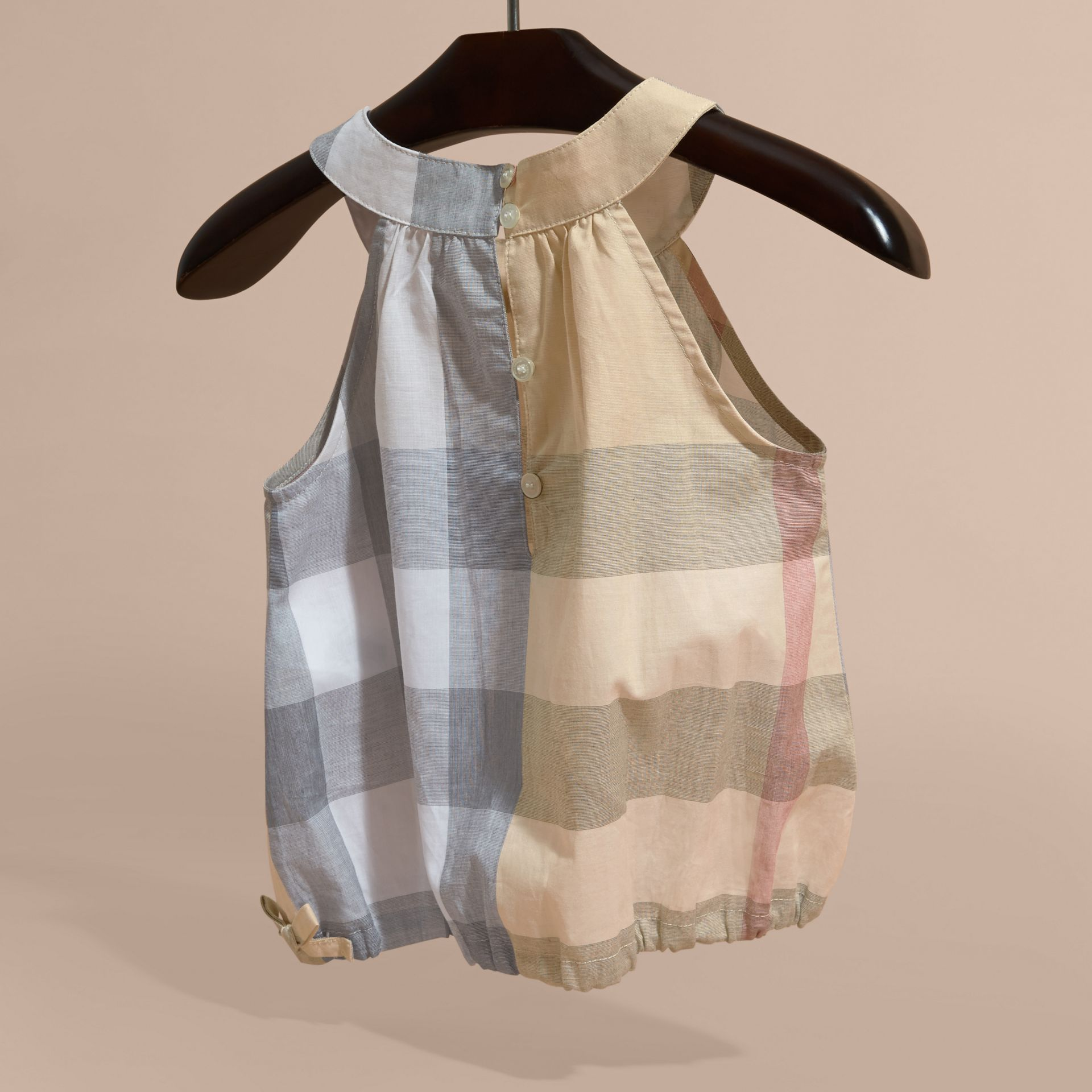 Gathered Check Cotton Top in Pale Stone - Girl | Burberry - gallery image 4