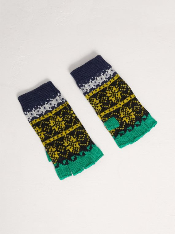 Fair Isle Wool Cashmere Fingerless Gloves in Bright Yellow