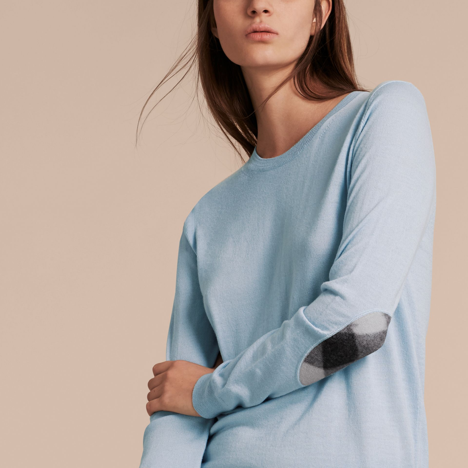 Pale cornflower blue Check Detail Merino Crew Neck Sweater Pale Cornflower Blue - gallery image 5