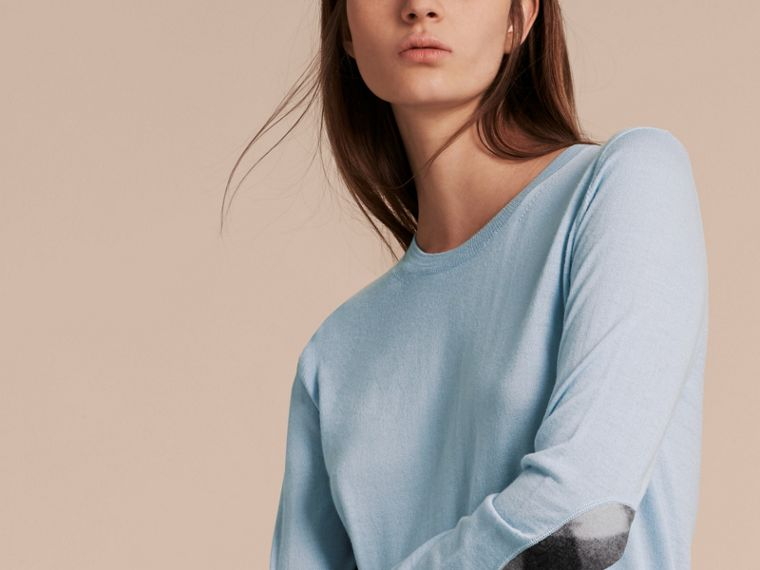 Pale cornflower blue Check Detail Merino Crew Neck Sweater Pale Cornflower Blue - cell image 4