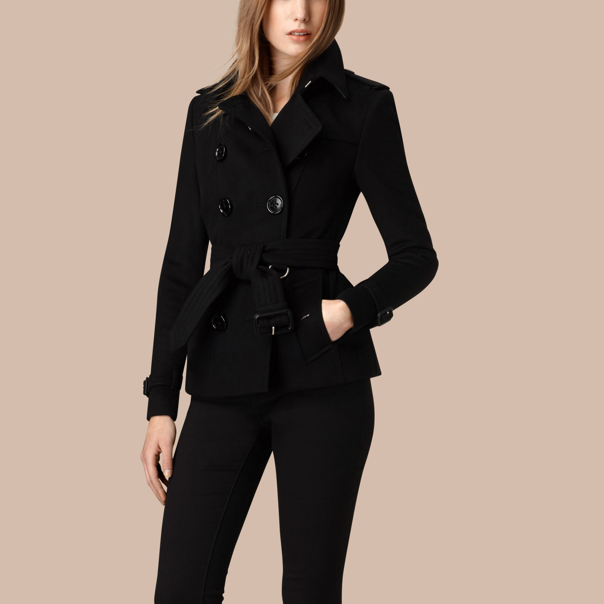 Black Wool Cashmere Trench Jacket - gallery image 1