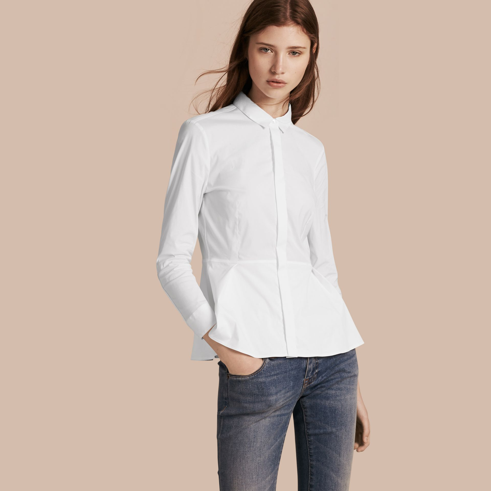White Stretch Cotton Peplum Shirt - gallery image 1