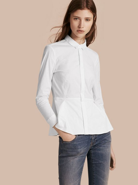 Camicia con baschina in cotone stretch