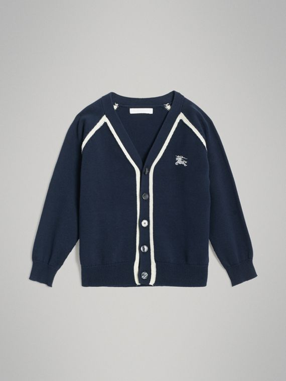 Two-tone Cotton Knit Cardigan in Navy