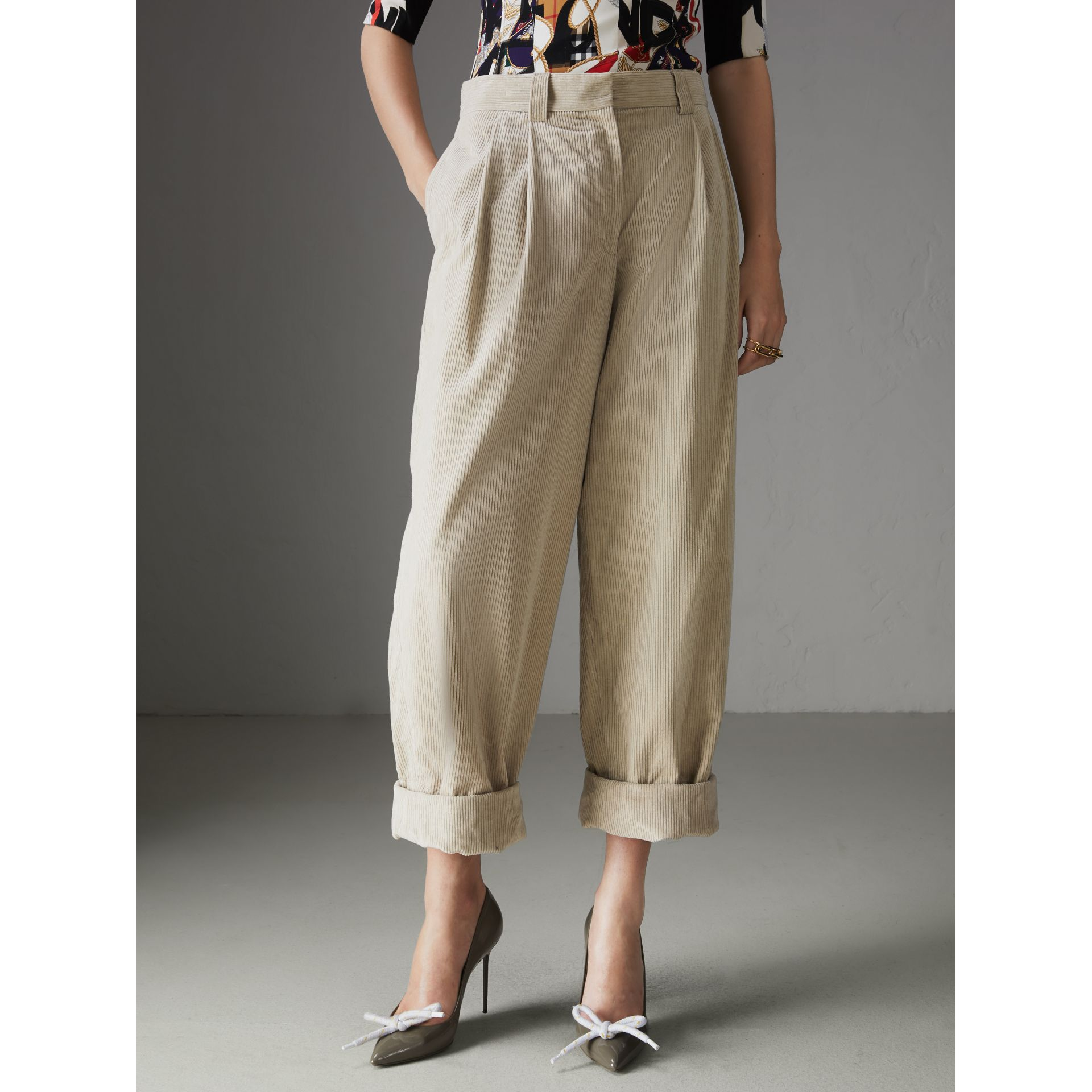 Roll-up Cuff Cotton Corduroy Trousers in Stone - Women | Burberry - gallery image 4