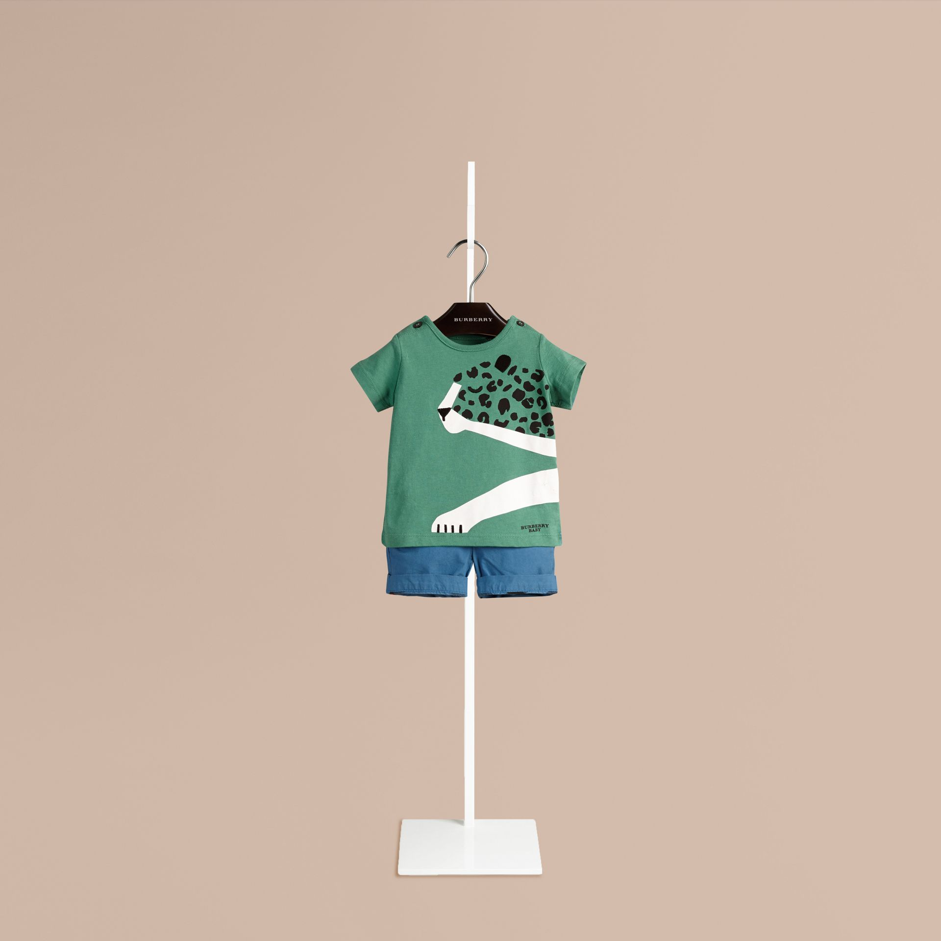 Verde tempesta T-shirt in cotone con immagine ghepardo Verde Tempesta - immagine della galleria 1