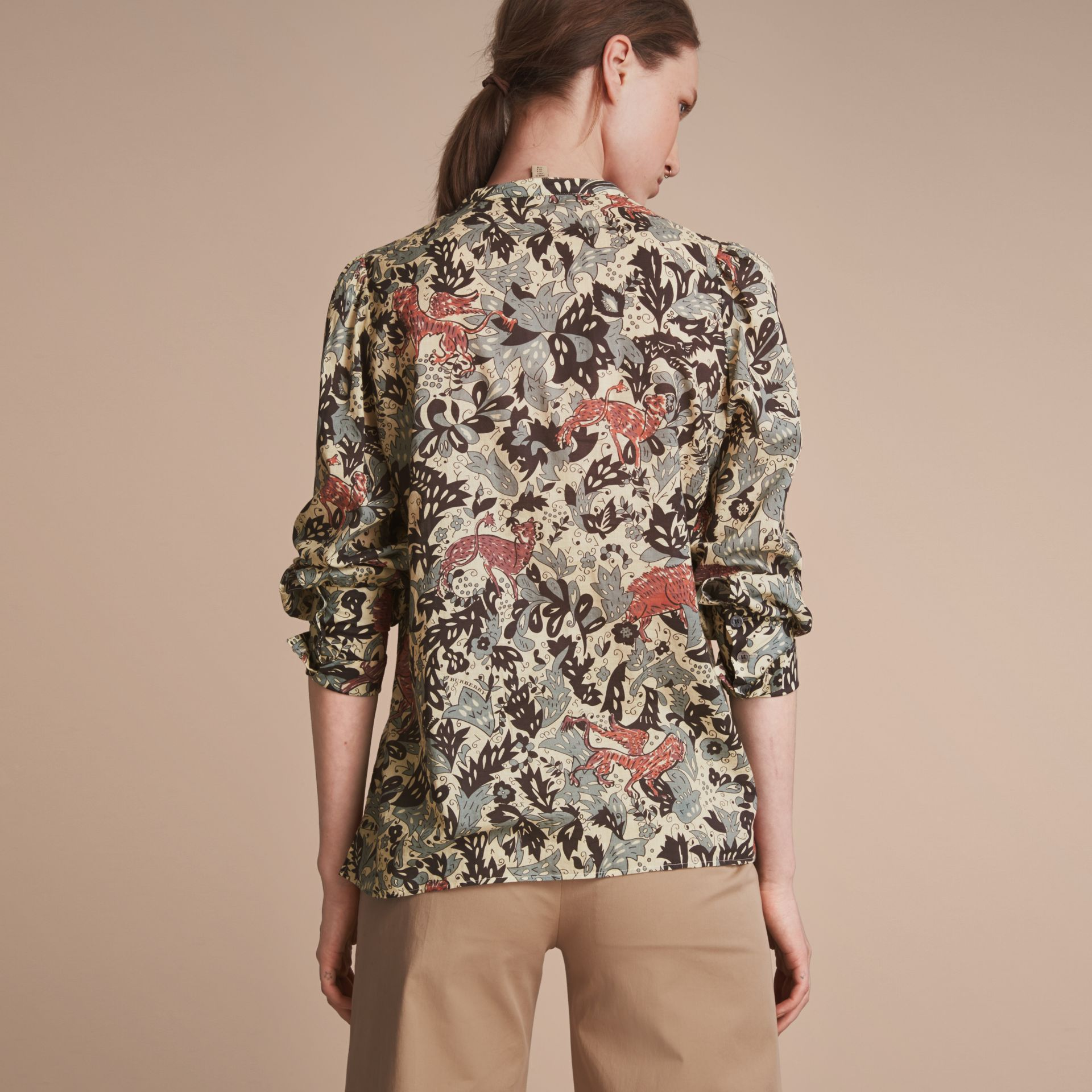 Beasts Print Cotton Tunic Shirt in Pale Blue Carbon - Women | Burberry - gallery image 3