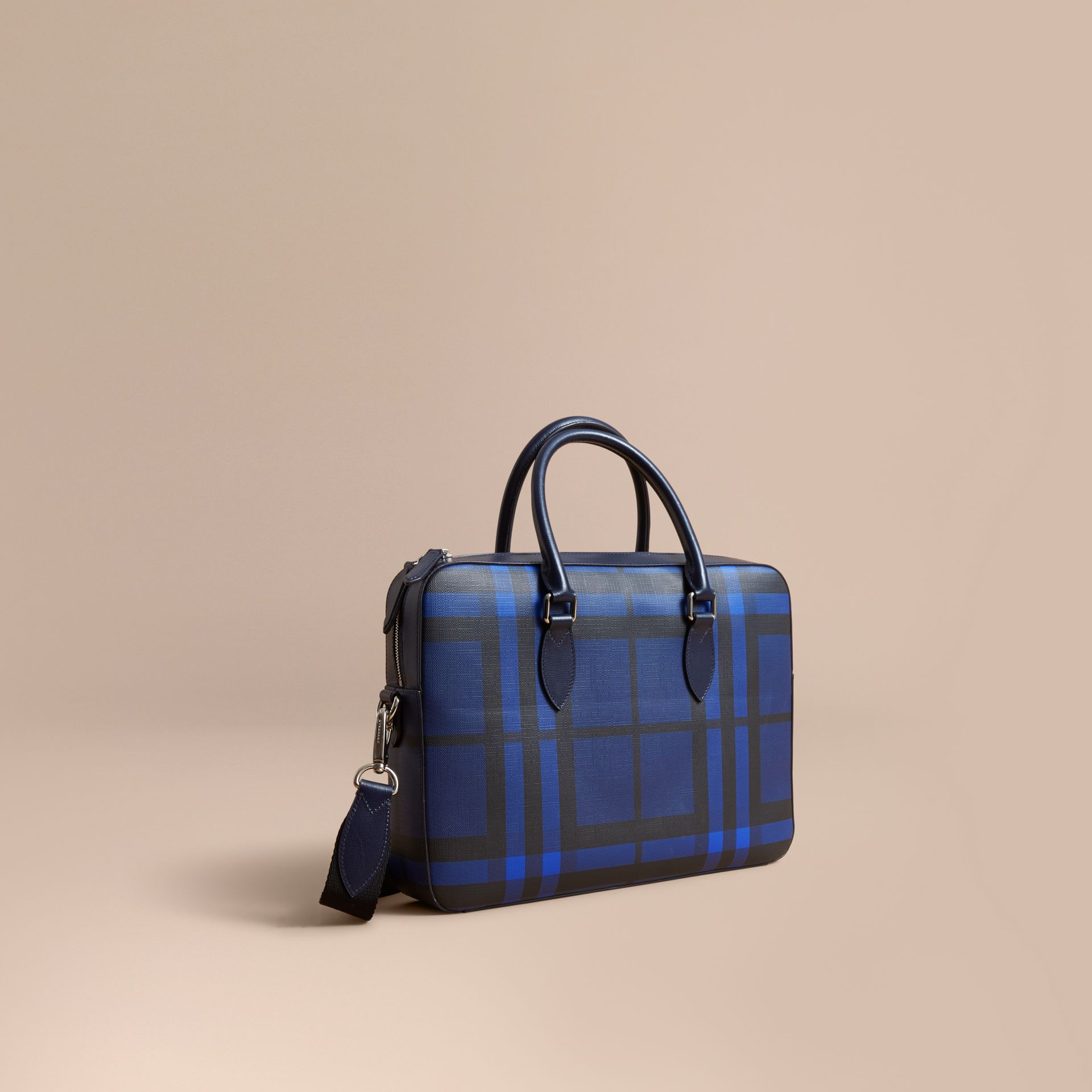 Medium Leather Trim London Check Briefcase in Bright Lapis - Men | Burberry - gallery image 1