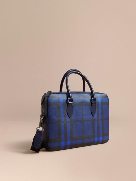 Medium Leather Trim London Check Briefcase in Bright Lapis - Men | Burberry