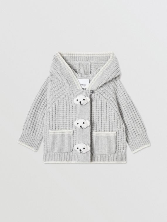 Thomas Bear Detail Wool Cashmere Hooded Jacket in Pale Grey